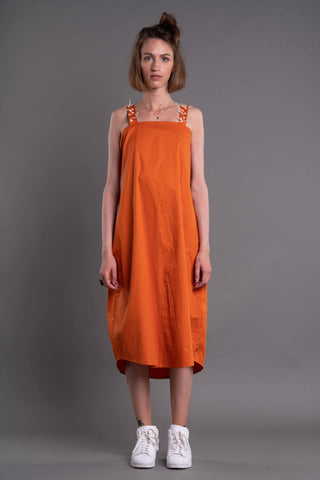 Shop Emerging Dark Conceptual Brand Anagenesis Albedo Collection Orange Sleeveless Drop Dress at Erebus