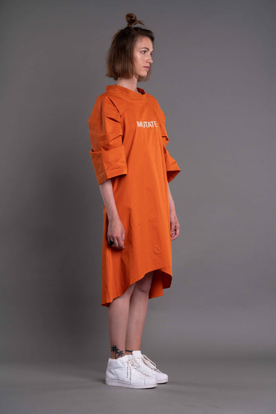 Shop Emerging Dark Conceptual Brand Anagenesis Albedo Collection Orange Breach Dress at Erebus