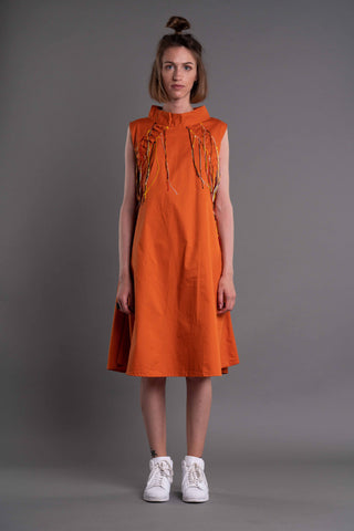 Shop Emerging Dark Conceptual Brand Anagenesis Albedo Collection Orange Sleeveless Breach Dress at Erebus
