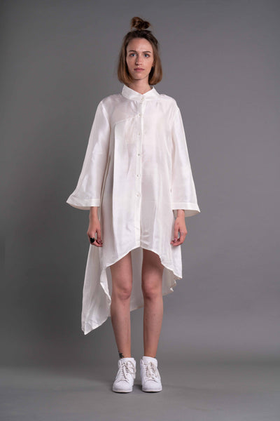 Shop Emerging Dark Conceptual Brand Anagenesis Albedo Collection White Asymmetric Intrusion Shirt at Erebus