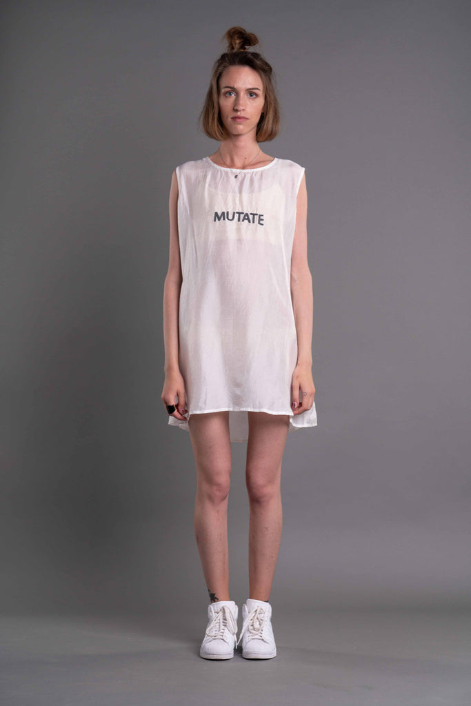 Shop Emerging Dark Conceptual Brand Anagenesis Albedo Collection White D-Top at Erebus