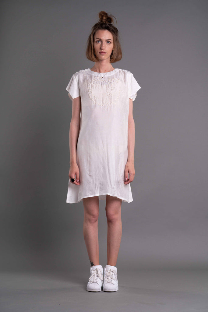 Shop Emerging Dark Conceptual Brand Anagenesis Albedo Collection White Braille Dress at Erebus
