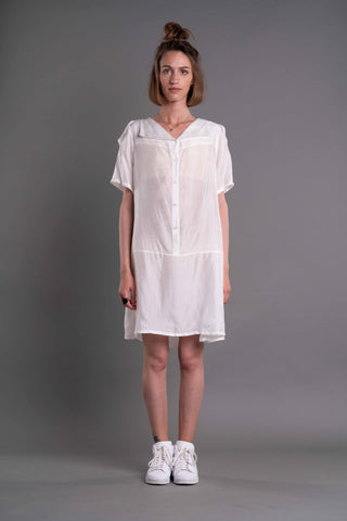 Shop Emerging Dark Conceptual Brand Anagenesis Albedo Collection White Sailor Dress at Erebus