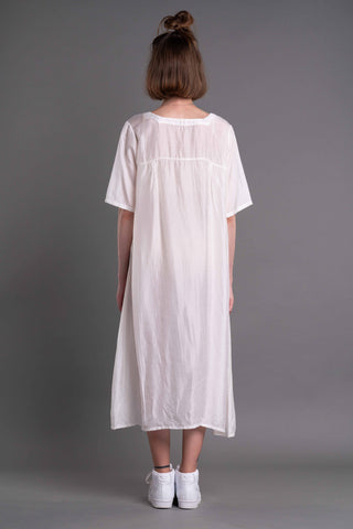 Shop Emerging Dark Conceptual Brand Anagenesis Albedo Collection White Braille Rain Dress at Erebus