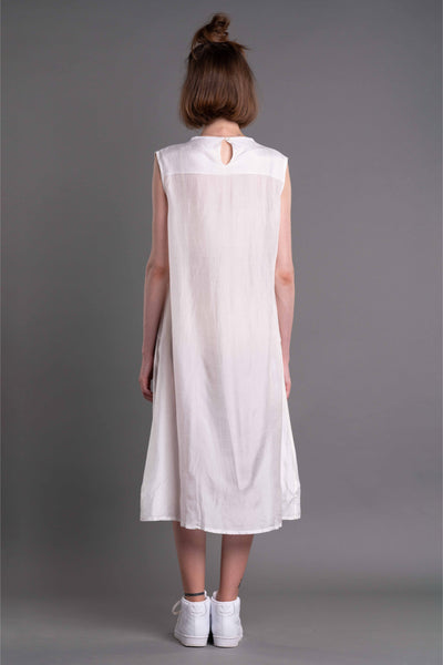 Shop Emerging Dark Conceptual Brand Anagenesis Albedo Collection White Cowl Neck Dress at Erebus