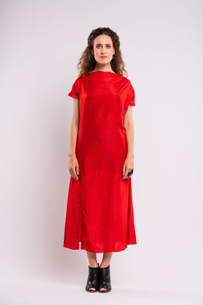 Shop emerging dark conscious fashion genderless brand Anoir by Amal Kiran Jana Red Silk Dress at Erebus