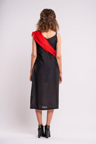Shop emerging dark conscious fashion genderless brand Anoir by Amal Kiran Jana Black Silk Sash Dress at Erebus