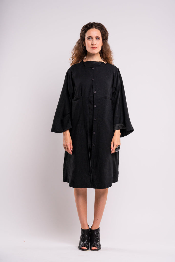 Shop emerging dark conscious fashion genderless brand Anoir by Amal Kiran Jana Black Jacket Dress at Erebus