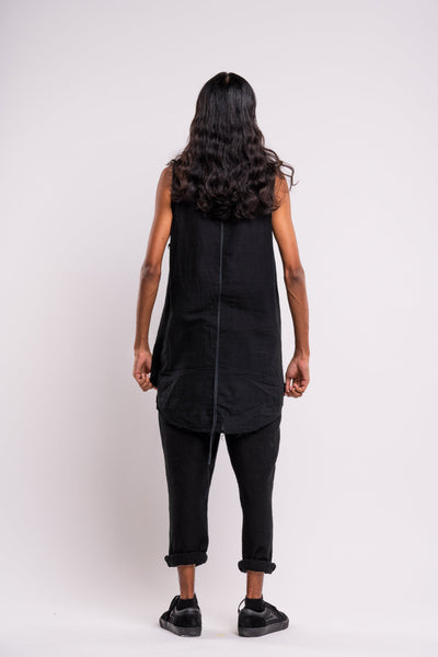 Shop emerging dark conscious fashion genderless brand Anoir by Amal Kiran Jana Black Raw Sleeveless Tank at Erebus