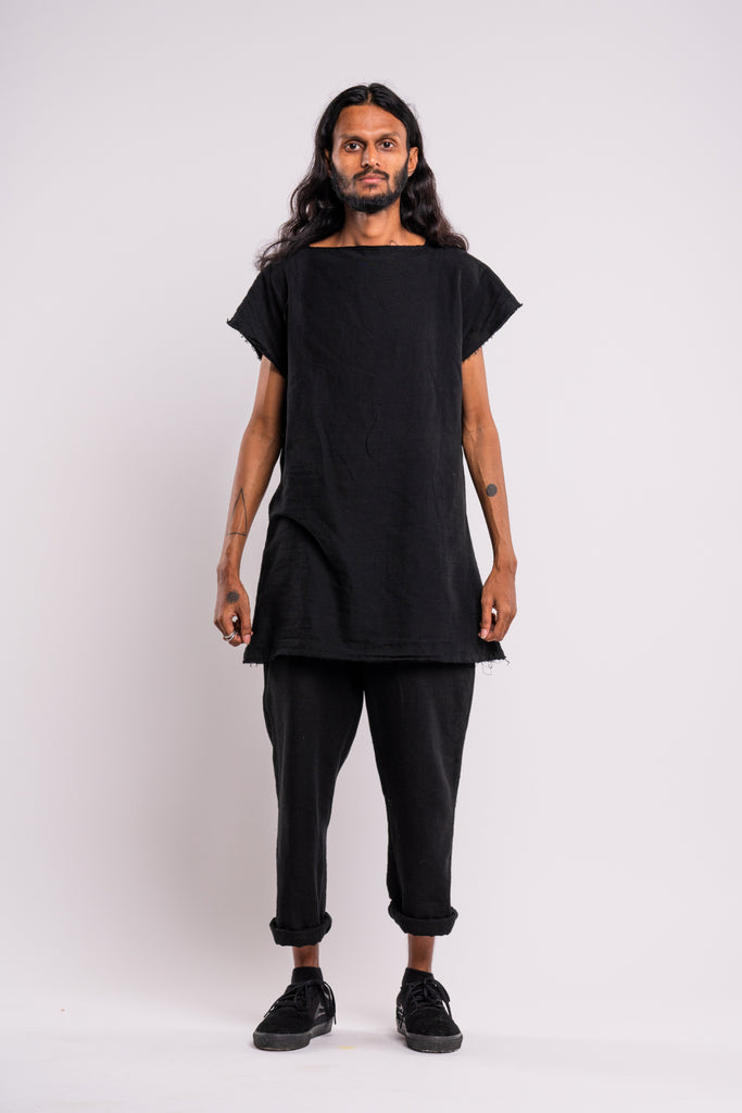 Shop emerging dark conscious fashion genderless brand Anoir by Amal Kiran Jana Black Raw Trousers at Erebus