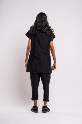 Shop emerging dark conscious fashion genderless brand Anoir by Amal Kiran Jana Black Raw Top at Erebus