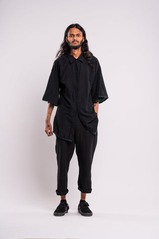 Shop emerging dark conscious fashion genderless brand Anoir by Amal Kiran Jana Black Raw Shirt at Erebus