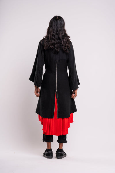 Shop emerging dark conscious fashion genderless brand Anoir by Amal Kiran Jana Black Cotton and Red Silk Mythic Jacket at Erebus