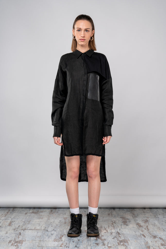Shop emerging dark conscious fashion genderless brand Anoir by Amal Kiran Jana Black Woven Hemp Step Shirt at Erebus