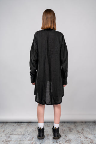 Shop emerging dark conscious fashion genderless brand Anoir by Amal Kiran Jana Black Woven Hemp Tail Shirt at Erebus