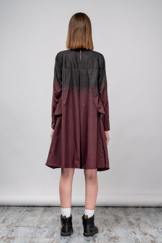 Shop emerging dark conscious fashion genderless brand Anoir by Amal Kiran Jana Dip Dyed Babydoll Tunic at Erebus