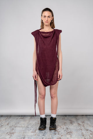Shop emerging dark conscious fashion genderless brand Anoir by Amal Kiran Jana Sheer Knit Drape Mini Dress at Erebus