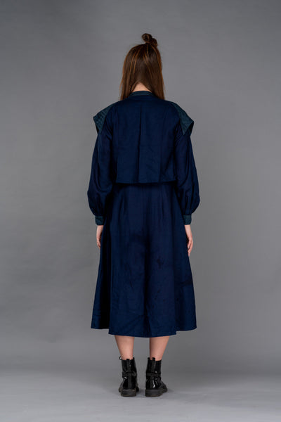 Shop Emerging Dark Conceptual Brand Anagenesis Indigo Jacket Dress with Waistcoat at Erebus