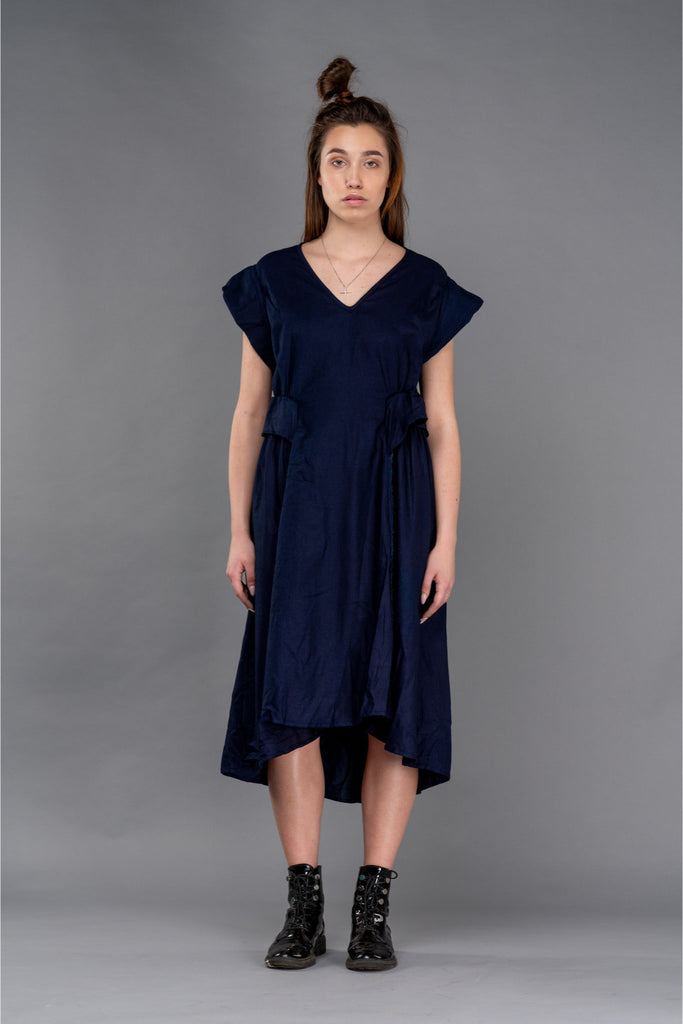 Shop Emerging Dark Conceptual Brand Anagenesis Indigo Cap Dress at Erebus