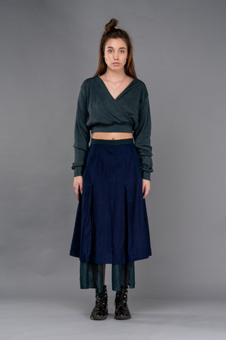 Shop Emerging Dark Conceptual Brand Anagenesis Cerulean Knit Viscose V Crop Top at Erebus