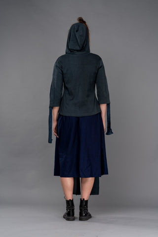 Shop Emerging Dark Conceptual Brand Anagenesis Cerulean Knit Viscose Hooded Top at Erebus