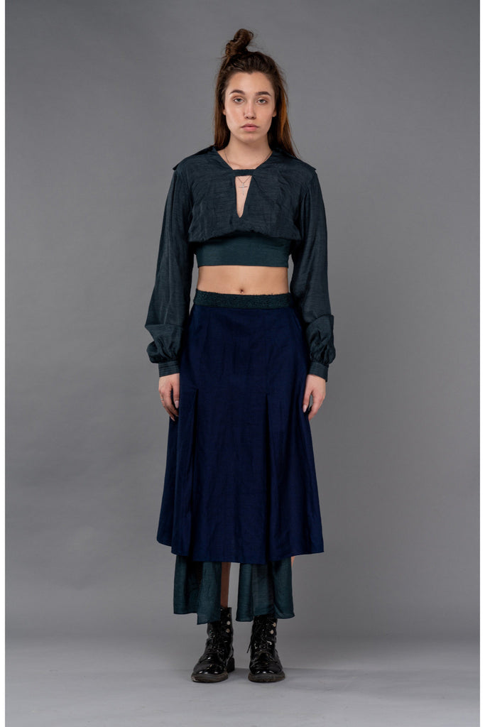 Shop Emerging Dark Conceptual Brand Anagenesis Cerulean Knit Viscose Strap V Crop Top at Erebus