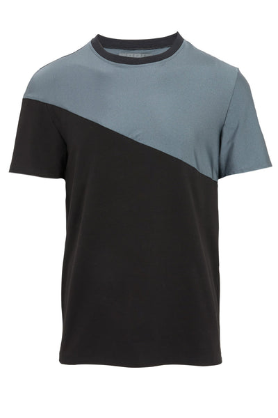 Shop Emerging Slow Fashion Avant-garde Unisex Brand Dhenze Kollektion 5 Grey and Black Asymmetric T-Shirt at Erebus