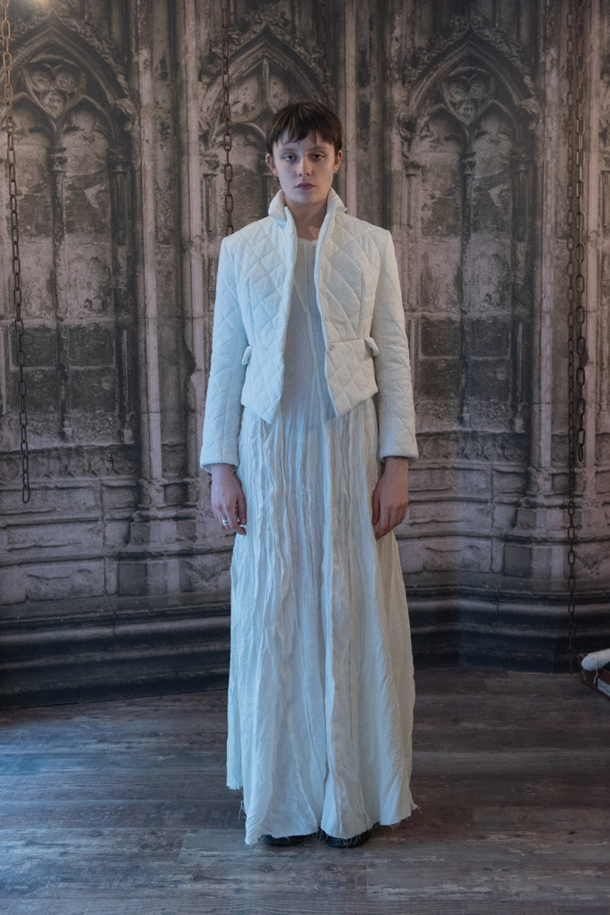 Shop Couture Conscious Dark Avant-garde Luxury Designer Brand Sandrine Philippe Femme The Test of Time Collection Off-White Short Duvet Jacket at Erebus