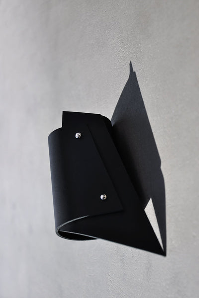 Shop emerging slow fashion accessory brand Aumorfia black leather POLYGONS cuff - Erebus