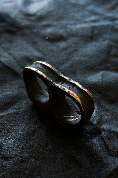 Shop Emerging Avant-garde Jewellery Brand Surface/Cast Blackened Bronze Absence Double Ring at Erebus