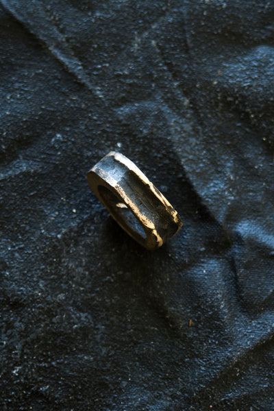 Shop Emerging Avant-garde Jewellery Brand Surface/Cast Blackened Bronze Absence Small Ring at Erebus