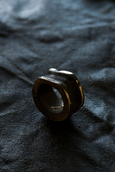 Shop Emerging Avant-garde Jewellery Brand Surface/Cast Blackened Bronze Absence Medium Ring at Erebus