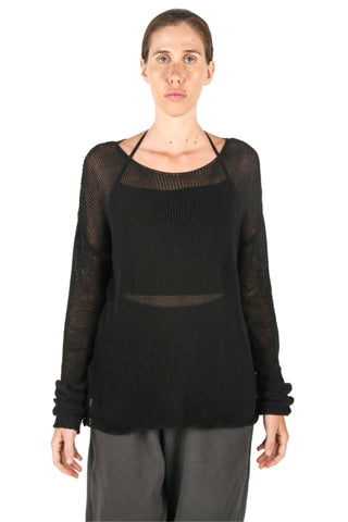 Shop Fair Fashion Genderless Avant-garde Basics Brand PULSE by Mark Baigent Collection Black Loose Knit Cotton Acid Jumper at Erebus