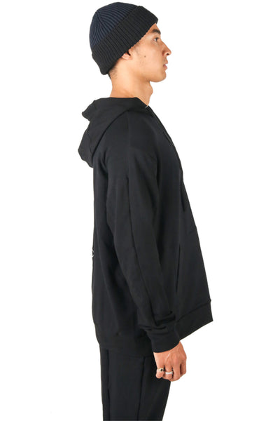 Shop Fair Fashion Genderless Avant-garde Basics Brand PULSE by Mark Baigent Collection Black Organic Bamboo Terry Adventitia Hoodie at Erebus
