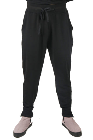 Shop Fair Fashion Genderless Avant-garde Basics Brand PULSE by Mark Baigent Collection Black Organic Bamboo Terry Adventitia Jogging Pants at Erebus