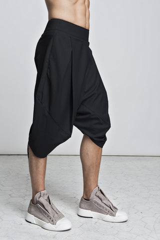 Shop emerging slow fashion unisex brand XCONCEPT black Aladin Posh Long Shorts - Erebus