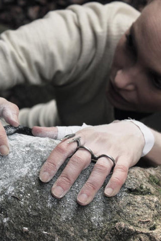 Shop Emerging Avant-garde Slow Fashion Unisex Brand Draug Jewellery Two Finger Boulder Ring at Erebus