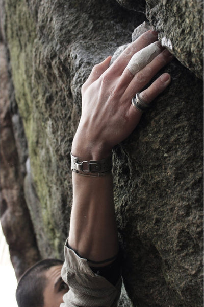 Shop Emerging Avant-garde Slow Fashion Unisex Brand Draug Jewellery Silver Fjaell Cuff at Erebus