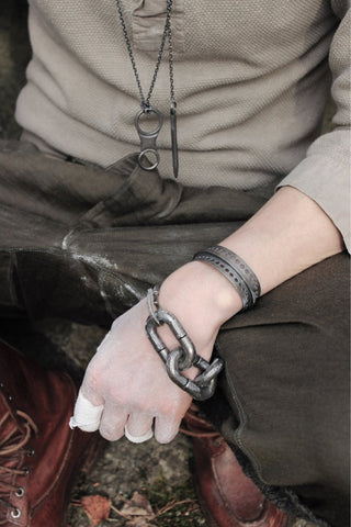 Shop Emerging Avant-garde Slow Fashion Unisex Brand Draug Jewellery Silver Helags Cuff at Erebus