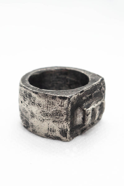 Shop Emerging Slow Fashion Avant-garde Jewellery Brand Surface Cast Blackened Silver Alter Medium Ring at Erebus