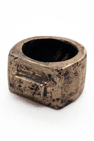 Shop Emerging Slow Fashion Avant-garde Jewellery Brand Surface Cast Blackened Bronze Alter Medium Ring at Erebus