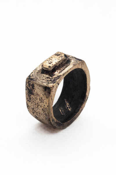 Shop Emerging Slow Fashion Avant-garde Jewellery Brand Surface Cast Blackened Bronze Alter Small Ring at Erebus