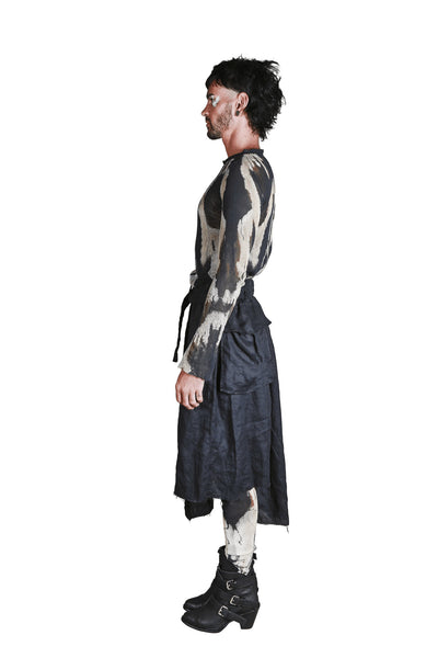 Shop Emerging Slow Fashion Genderless Avant-garde Designer Mark Baigent Rhiannon Collection Army Skirt at Erebus