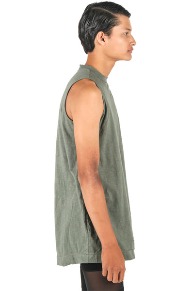 Shop Fair Fashion Genderless Avant-garde Basics Brand PULSE by Mark Baigent Collection Green Smoke Biodegradable Tencel Sternum Tank at Erebus