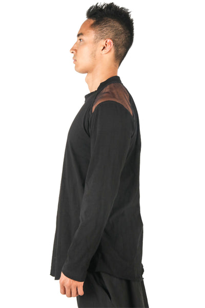 Shop Fair Fashion Genderless Avant-garde Basics Brand PULSE by Mark Baigent Collection Black Slub Cotton Artery Long Sleeve T-Shirt at Erebus