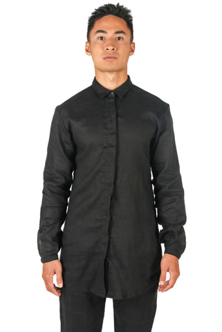 Shop Fair Fashion Genderless Avant-garde Basics Brand PULSE by Mark Baigent Collection Black Linen Atrium Shirt at Erebus