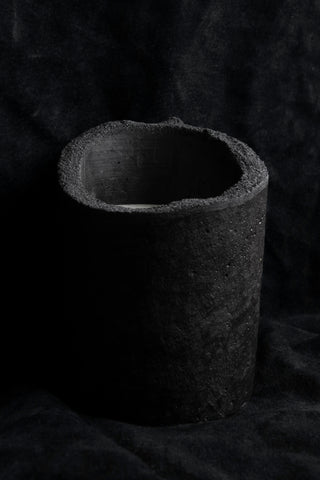 Shop Emerging Slow Fashion Avant-garde Jewellery Brand Surface Cast Black Signature Concrete Ascetic Candle Holder at Erebus