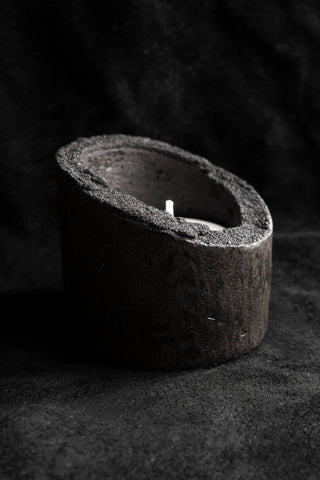 Shop Emerging Slow Fashion Avant-garde Jewellery Brand Surface Cast Black Signature Concrete Ascetic Tea-light Candle Holder Set at Erebus