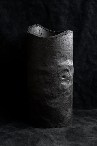Shop Emerging Slow Fashion Avant-garde Jewellery Brand Surface Cast Black Signature Concrete Ascetic Vase at Erebus