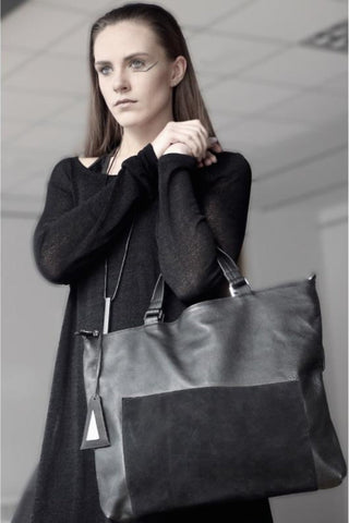 Shop emerging slow fashion designer Anoir by Amal Kiran Jana leather and suede Asymmetric Tote Bag Black - Erebus